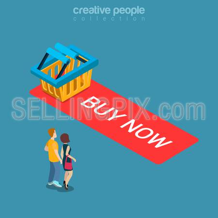 Buy now Add to Cart button flat 3d isometry isometric online store sale concept web vector illustration. Micro couple standing before big button with empty shopping bag. Creative people collection.
