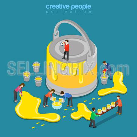 Paint renovation process flat 3d isometry isometric interface color scheme theme change concept web vector illustration. Micro people and huge can of yellow paint. Creative people collection.