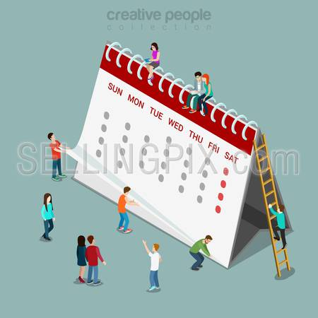 Calendar schedule flat 3d isometry isometric concept web infographics vector illustration. Micro casual people and big paper abstract month calendar sheets on spring. Creative people collection.