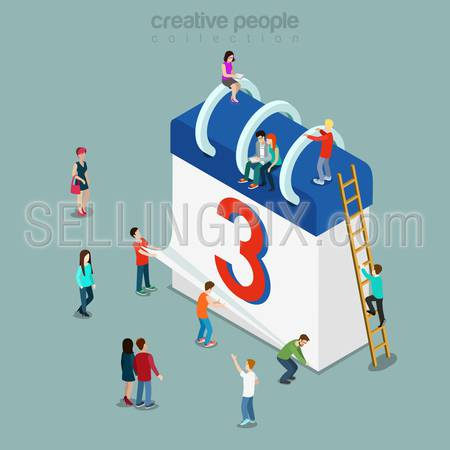 Calendar schedule flat 3d isometry isometric concept web infographics vector illustration. Micro casual people and big paper abstract daily loose-leaf calendar sheets on spring. Creative people collection.
