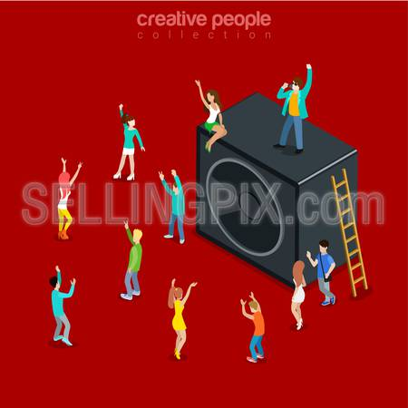 Party time music show flat 3d isometry isometric concept web vector illustration. Micro joyful dancing having fun young male female and huge speaker. Creative people collection.