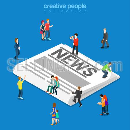 News flat 3d isometry isometric newspaper concept web infographics vector illustration. Micro people on huge classic paper newspaper. Creative people collection.