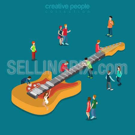 Rock blues bass guitar flat 3d isometry isometric music show fan concert concept web infographics vector illustration. Creative people collection.