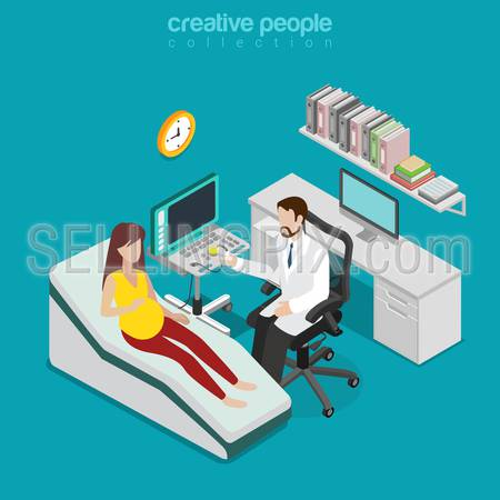 Ultrasonography pregnant woman medical diagnostics checkup flat 3d isometry isometric concept web vector illustration. Doctor room interior US ultrasonic ultrasound diag. Creative people collection.