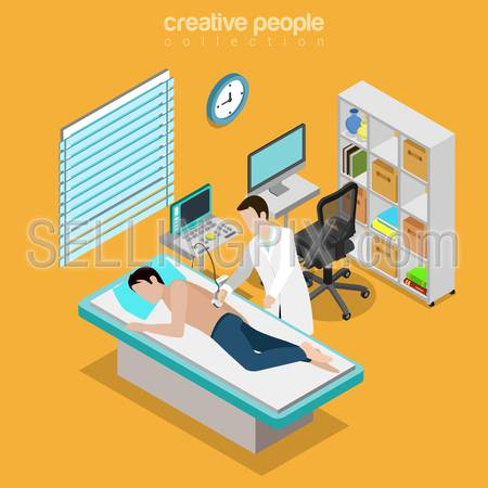 Ultrasonography male medical diagnostics internal organs checkup flat 3d isometry isometric healthcare web concept. Doctor room interior US ultrasonic ultrasound diag. Creative people collection.