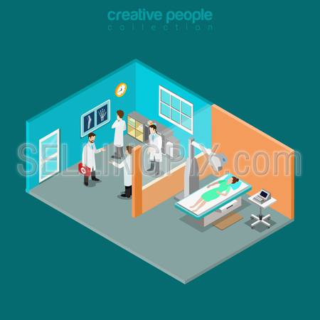 X-ray female medical diagnostics bones skeleton checkup flat 3d isometry isometric healthcare web concept. Doctor room interior xray diag. Creative people collection.
