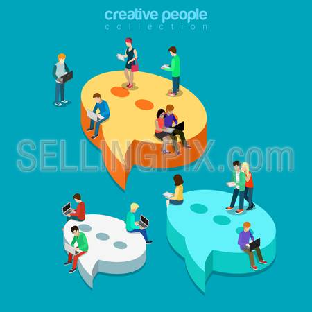 Chat messaging communication flat 3d isometry isometric concept web vector illustration. Message bubbles and young joyful male female sitting laptop tablet phone. Creative technology people collection
