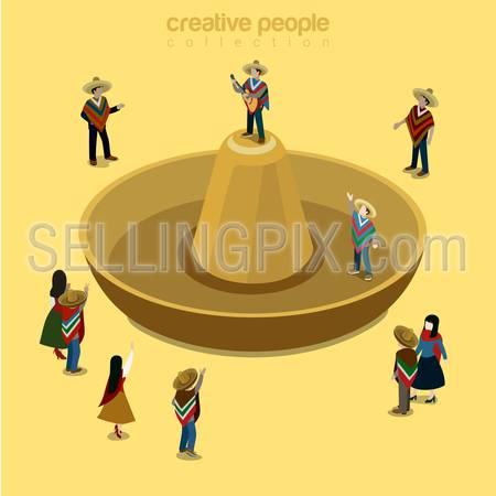Sombrero Mexican style flat 3d isometry isometric concept web vector illustration. Stylish male wearing high-crowned wide-brimmed headwear attire and classic guitar singer. Creative people collection.
