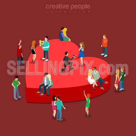 Love flat 3d isometry isometric concept web vector illustration. Heart shape pedestal and sitting lover couple dating kissing marriage proposal. Creative people collection.
