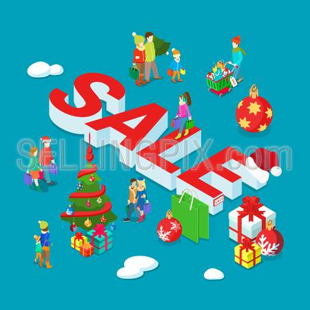 Christmas Sale flat 3d isometry isometric holiday concept web vector illustration set. Family couple children decorated fir tree postcard banner template. Creative people collection.