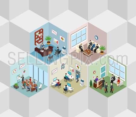 Office interior cells flat 3d isometry isometric concept web vector illustration. Boss meeting report manager reception room. Creative people collection.