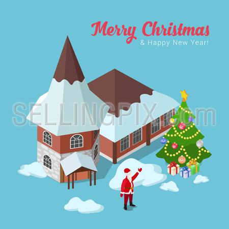 Merry Christmas Happy New Year flat 3d isometry isometric concept web infographics vector illustration leaflet flyer card postcard holiday template. Spruced fir tree house and Santa Claus.