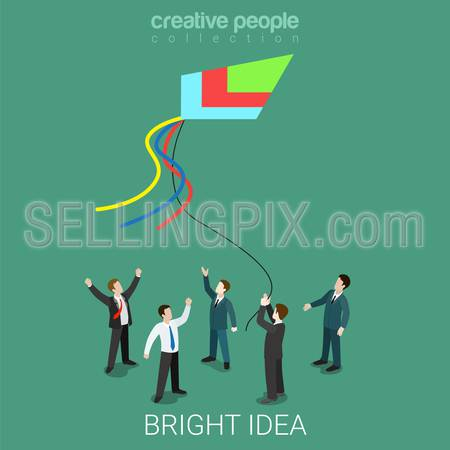 Bright idea kite running flat 3d isometry isometric prophecy and fate business concept web vector illustration. Creative people collection.