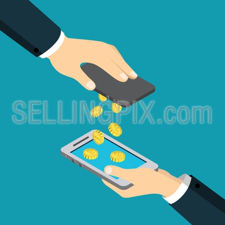Mobile payment money transfer flat 3d isometry isometric financial transaction concept web vector illustration. Coin drop raining from one smart phone to another. Creative people collection.