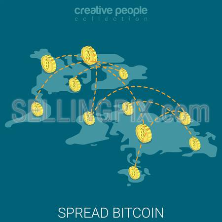 Bitcoin spread worldwide virtual economy influence flat 3d isometry isometric concept web vector illustration. World map bit coins connections. Creative people collection.
