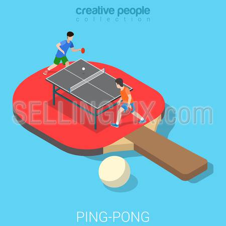 Ping-pong Table tennis flat 3d isometry isometric sports concept web vector illustration. Big racquet racket and micro players game match set. Creative people collection.