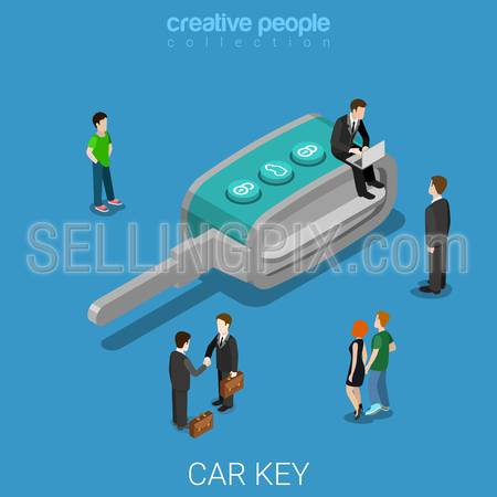 Car key flat 3d isometry isometric concept web vector illustration. Creative people collection.