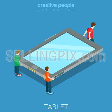 Tablet moving flat 3d isometry isometric technology concept web vector illustration. Young men bringing big empty touch screen tablet. Creative people collection.