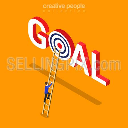 Goal achievement flat 3d isometry isometric business concept web vector illustration. Creative people collection.