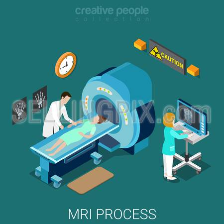 MRI process flat 3d isometry isometric hospital medical concept web vector illustration. Nuclear magnetic resonance imaging tomography room interior. Creative people collection.