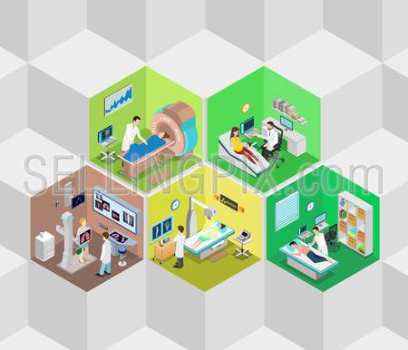 Hospital interior diagnostics cells flat 3d isometry isometric concept web vector illustration. MRI MRT x-ray pregnant ultrasonography medical diag rooms. Creative people collection.