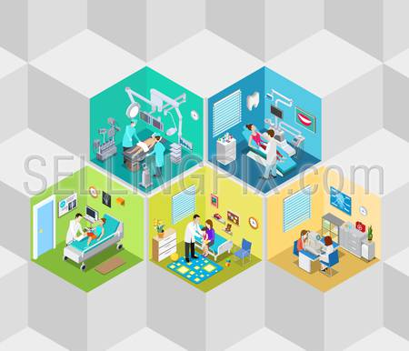 Hospital clinic interior operation ward cells flat 3d isometry isometric concept web vector illustration. Dentist surgeon surgery ophthalmologist oculist rooms. Creative people collection.