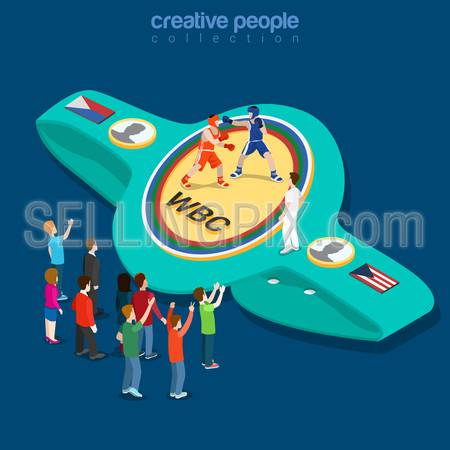Boxing belt flat 3d isometry isometric sports concept web vector illustration. Boxer fighters fighting competition show referee coach. Creative people collection.