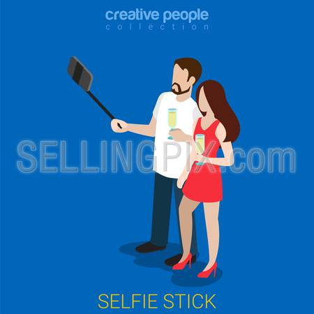 Selfie stick flat 3d isometry isometric concept web vector illustration. Couple party self smart phone photo with champagne glasses. Creative people collection.