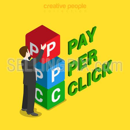 PPC pay per click flat 3d isometry isometric concept web vector illustration. Businessman placing box with P P C letters. Creative people collection.