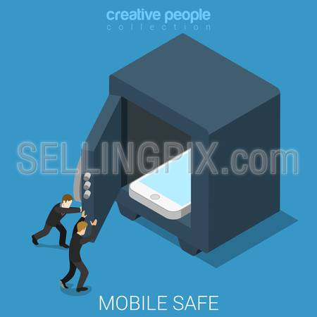 Mobile data safe flat 3d isometry isometric technology security online safety concept web vector illustration. Micro security officers closing safe door after smartphone. Creative people collection.