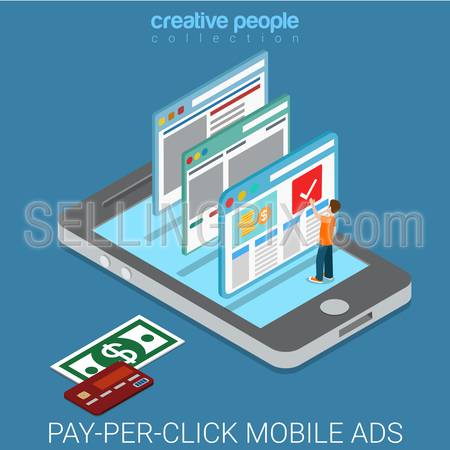 Pay-per-click flat 3d isometry isometric internet business mobile advertisement marketing concept web vector illustration. Man on smart phone click web page promo banner. Creative people collection.