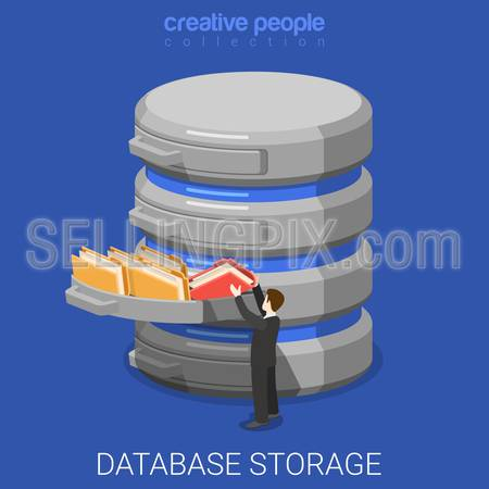 Database storage flat 3d isometry isometric technology concept web vector illustration. Micro businessman put data folder into abstract data base server. Creative people collection.