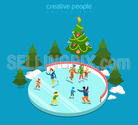 Winter ice staking rink sports young happy people family activity icon set flat 3d isometry isometric concept web vector illustration. Mom dad son boy girl skaters fir tree. Creative people collection