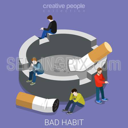 Bad habit ashtray smokers flat 3d isometry isometric concept web vector illustration. Micro people smoking around big ash tray cigarette butt stub end. Creative people collection.