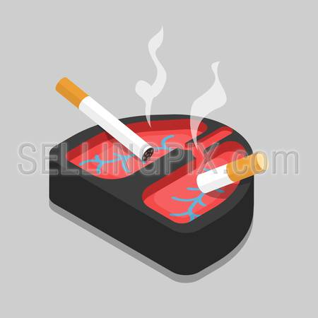 Bad habit lungs ashtray flat 3d isometry isometric concept web vector illustration. Smoking cigarettes lying in lung shape ash tray.