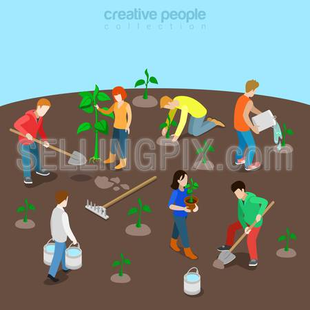 Nature planet ecology care flat 3d isometry isometric concept web vector illustration. Young people plant tree seedling watering sprout. Creative people collection.