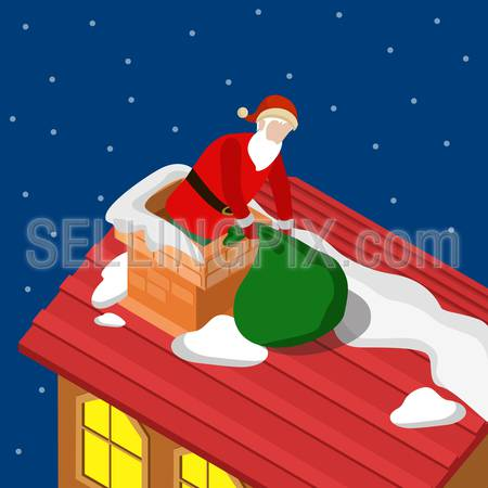 Merry Christmas Happy New Year flat 3d isometry isometric concept web infographics vector leaflet flyer card postcard template. Santa climb into chimney. Creative winter holiday collection.