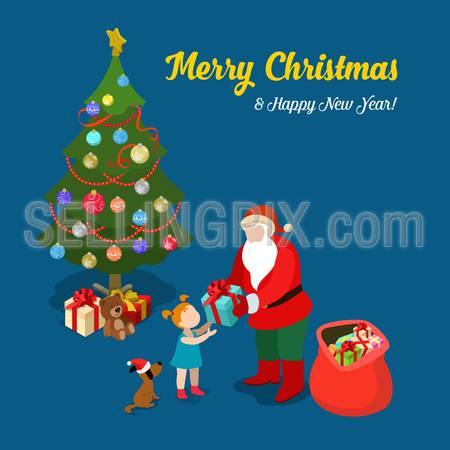 Merry Christmas Happy New Year flat 3d isometry isometric concept web infographics vector leaflet flyer card postcard template. Santa gives present to little girl. Creative winter holiday collection.