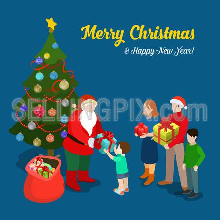 Merry Christmas Happy New Year flat 3d isometry isometric concept web infographics vector leaflet flyer card postcard template. Santa gives present little boy and family. Creative holiday collection