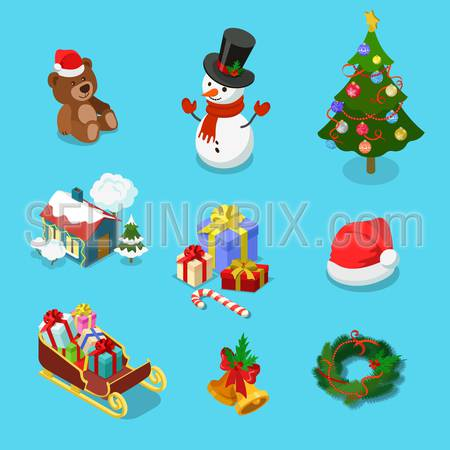 Detailed winter holiday object icon set of teddy bear snowman spruce village house gift hat sledge wreath. Merry Christmas Happy New Year flat 3d isometric concept web infographics vector template