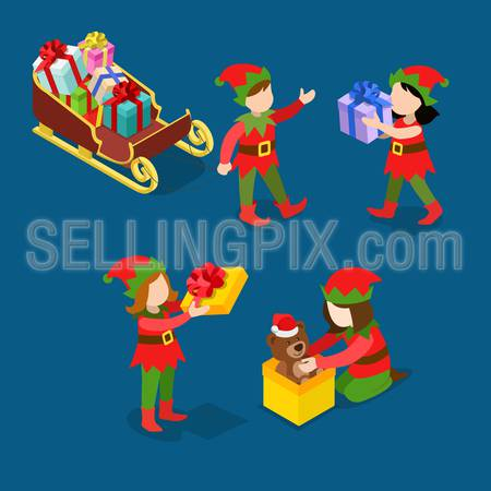 Little Santa helper troll children wrap pack toy gifts sledge. Merry Christmas Happy New Year flat 3d isometry isometric concept web infographics vector template icon set. Creative holiday collection.