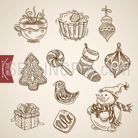 Snowman spruce fir tree decoration cookie Christmas New Year handdrawn engraving style template objects set. Pen pencil crosshatch hatching paper drawing retro vintage vector lineart illustration.