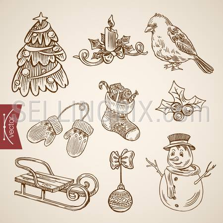 Spruced fir tree snowman bird candle sldge. Christmas New Year handdrawn engraving style template objects set. Pen pencil crosshatch hatching paper drawing retro vintage vector lineart illustration.