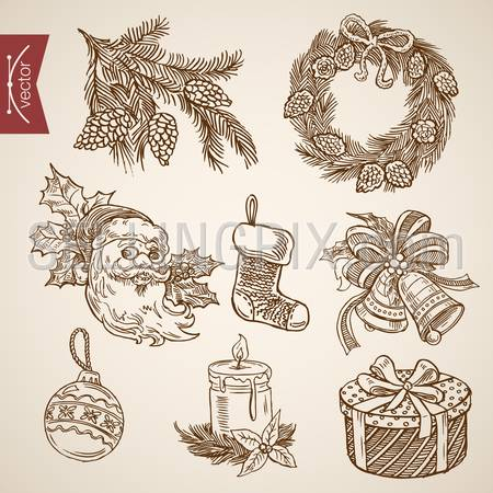 Santa fir tree branch ring bell candle wreath. Christmas New Year handdrawn engraving style template objects set. Pen pencil crosshatch hatching paper drawing retro vintage vector lineart illustration