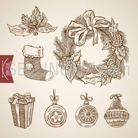 Wreath ring spruce decorations sock gift. Christmas New Year handdrawn engraving style template objects set. Pen pencil crosshatch hatching paper drawing retro vintage vector lineart illustration