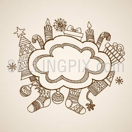 Christmas New Year handdrawn engraving style postcard banner poster template objects set. Pen pencil crosshatch hatching paper drawing retro vintage vector lineart illustration.