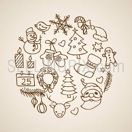 Christmas New Year handdrawn engraving style template objects set. Pen pencil crosshatch hatching paper drawing retro vintage vector lineart illustration.