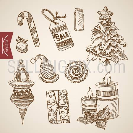 Christmas New Year sale spruced spruce candle candy cane hat handdrawn engraving style template objects set. Pen pencil crosshatch hatching paper drawing retro vintage vector lineart illustration.