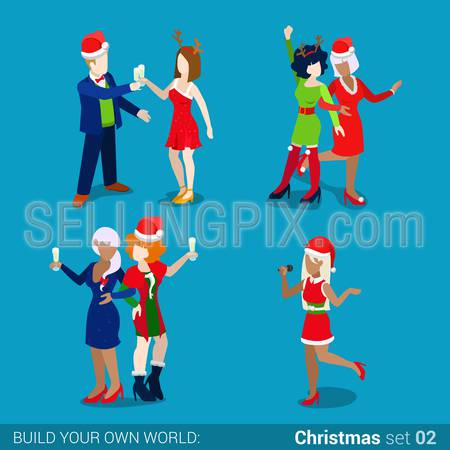 Holiday party masquerade fashionable sexy young women icon set. Merry Christmas Happy New Year flat 3d isometry isometric concept web infographics vector template. Creative winter holiday collection.