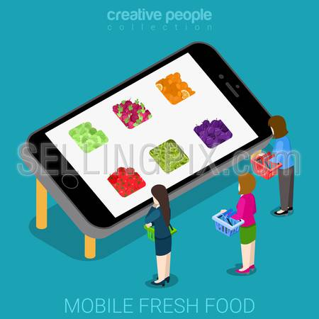 Mobile fresh good agriculture market flat 3d isometry isometric online shop concept web vector illustration. Female shopper and big smartphone vegetable fruit app icon hole. Creative people collection